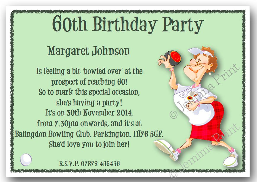 Woman Bowling Birthday Invitations Jemima Print