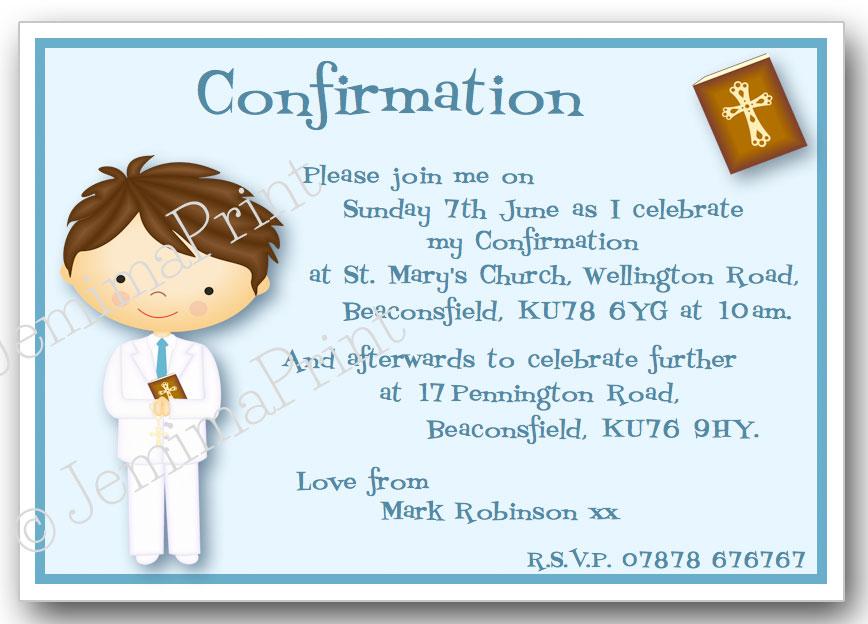 confirmation invitations jemima print