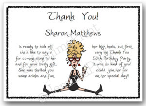 Black Dress Lady Thank You Cards