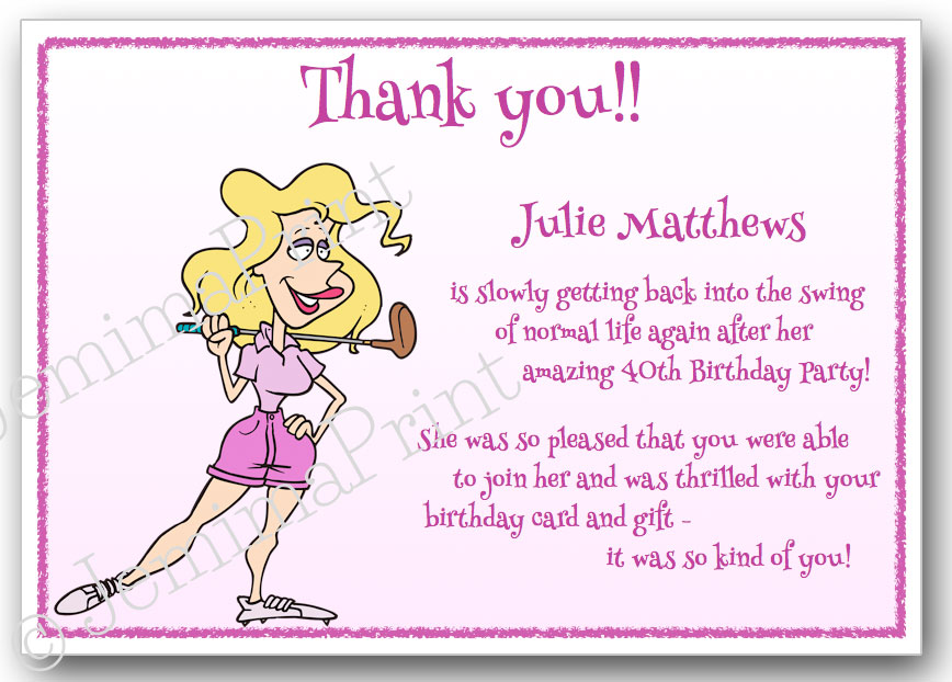 golf lady thank you cards jemima print