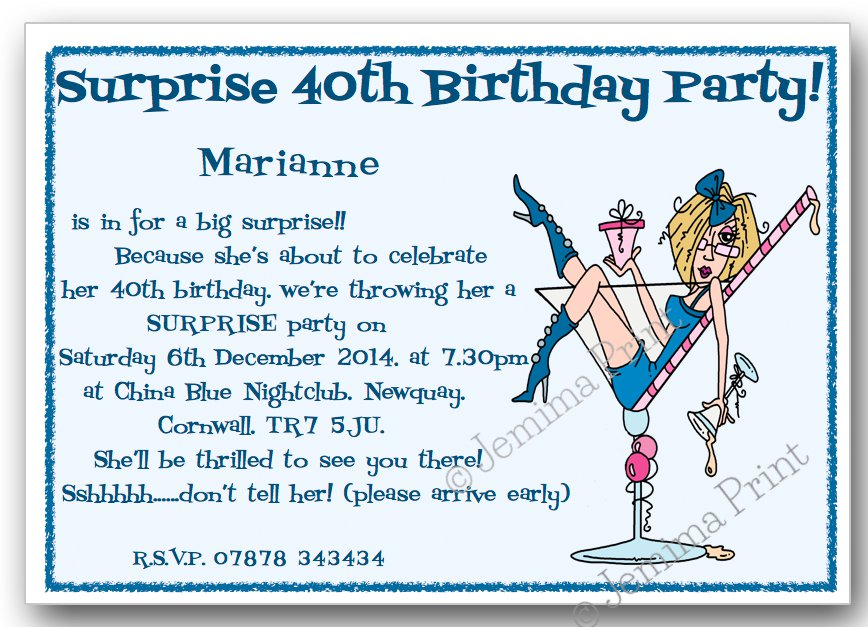Blue Party Girl Glass Surprise Birthday Invitations