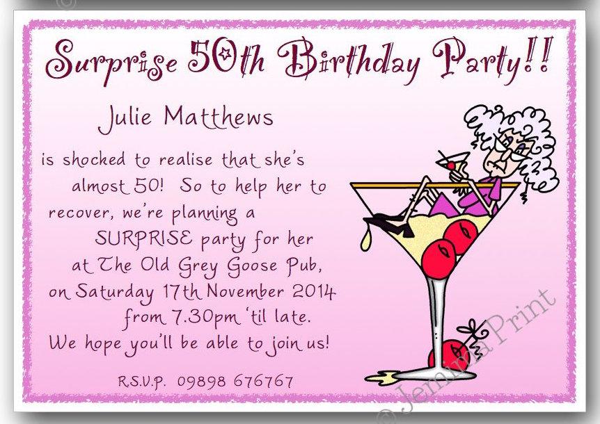 Wine Glass Woman Surprise Birthday Invitations