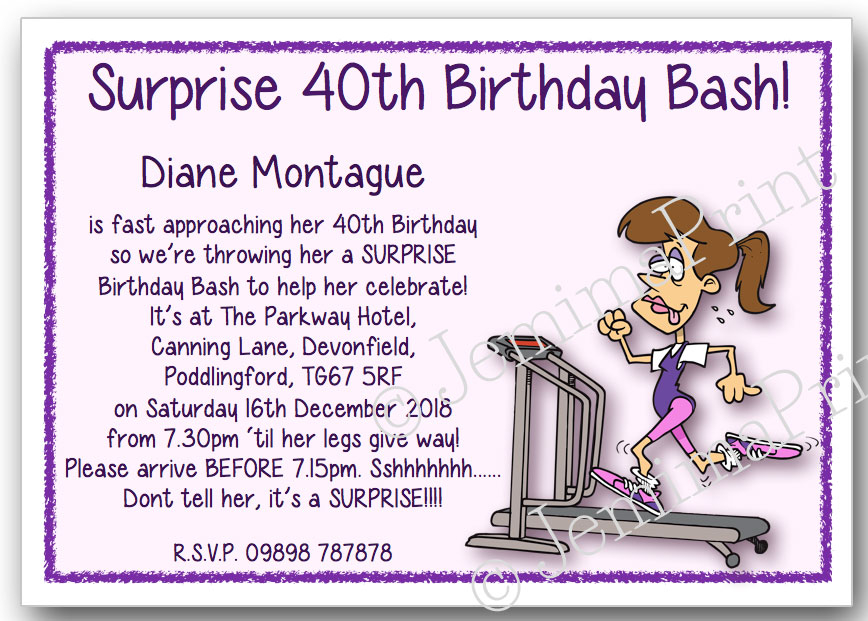 Running Gym Lady Surprise Birthday Invitations
