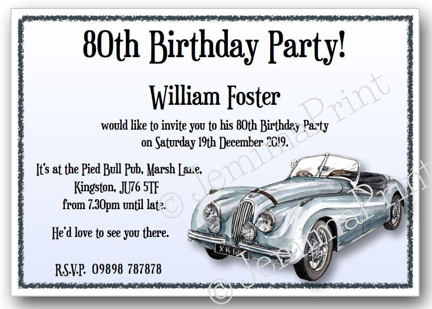 Vintage Car Birthday Invitations Jemima Print - Classic car invitations