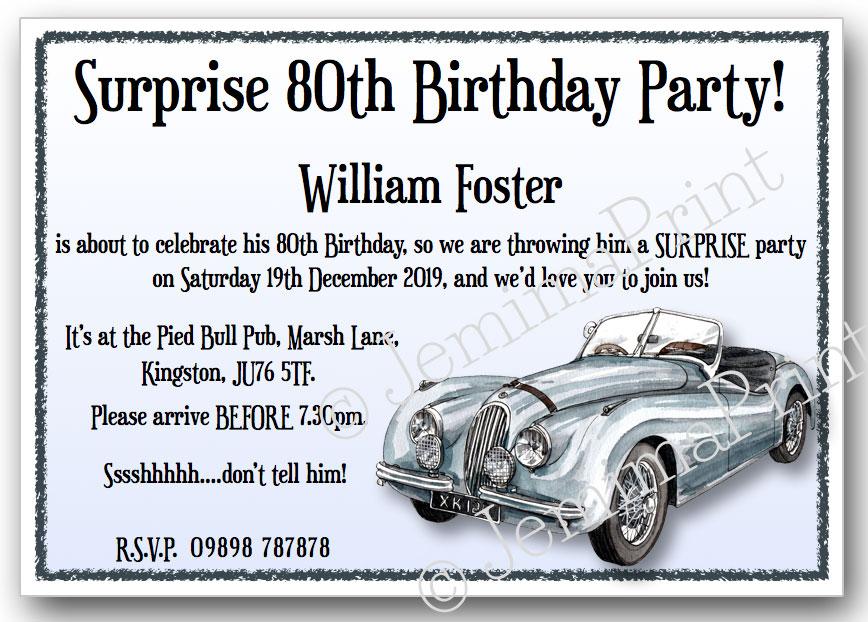 Vintage Car Surprise Birthday Invitations Jemima Print - Classic car invitations