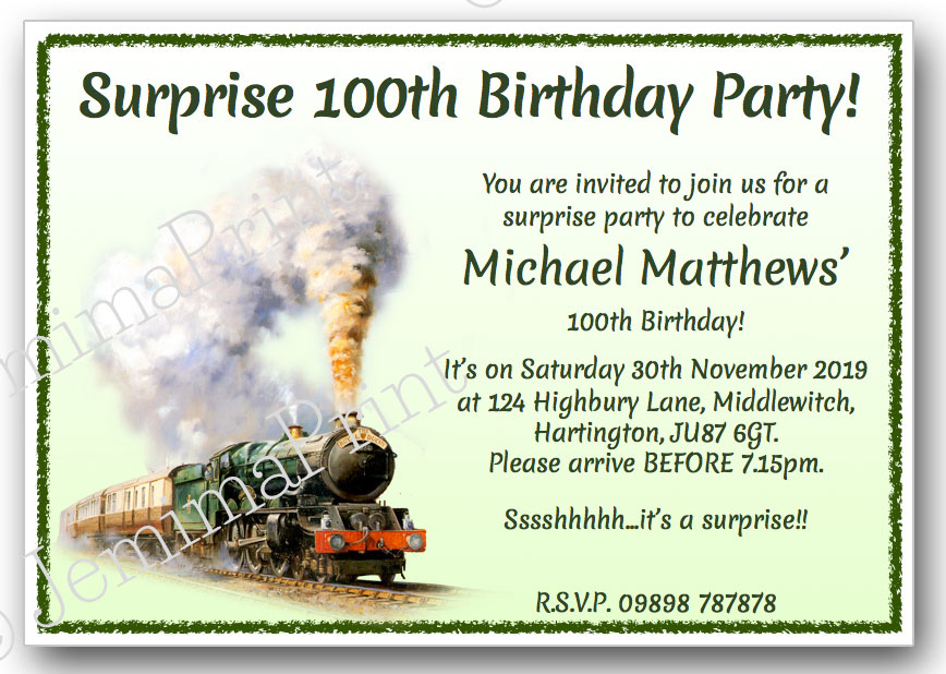 Vintage Train Surprise Birthday Invitations