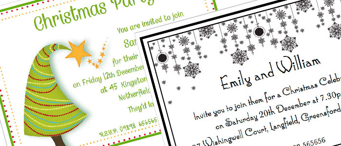 Personalised christmas party invitation cards