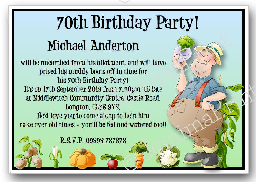 Gardening Man Birthday Invitations Jemima Print
