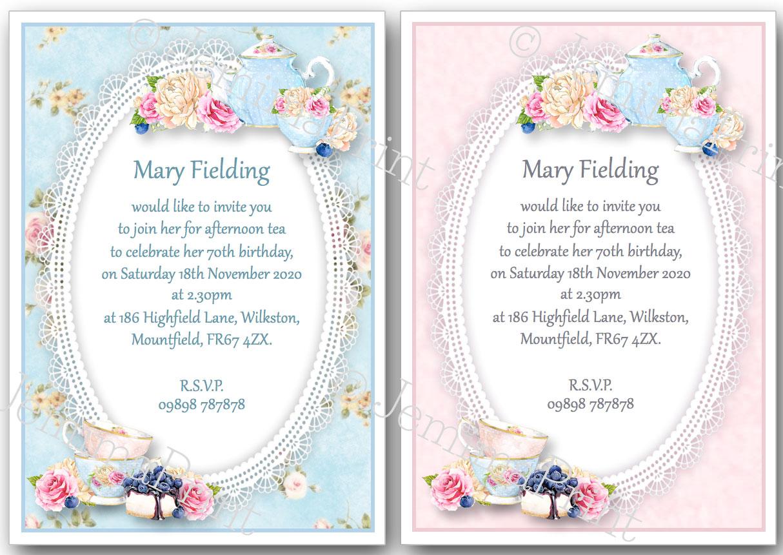 afternoon tea birthday invitations jemima print