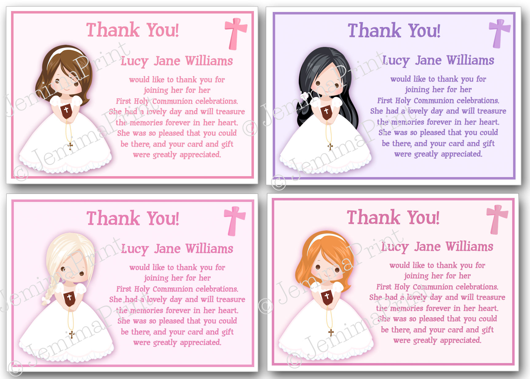 first holy communion confirmation thank you cards jemima print