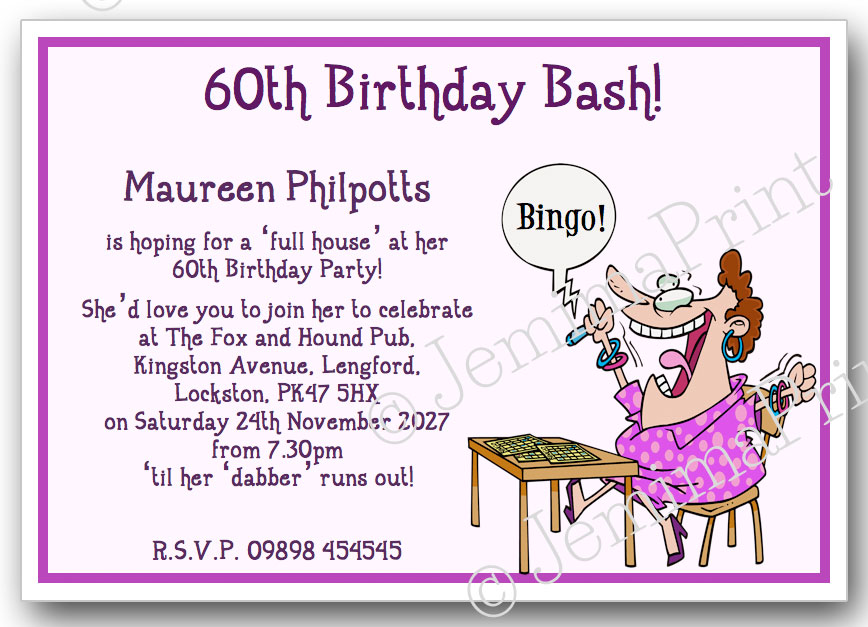 Bingo Lady Birthday Invitations - Jemima Print