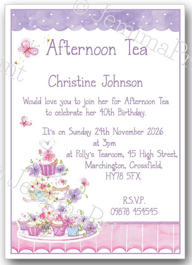 Afternoon Tea Birthday Invitations cake stand Jemima Print